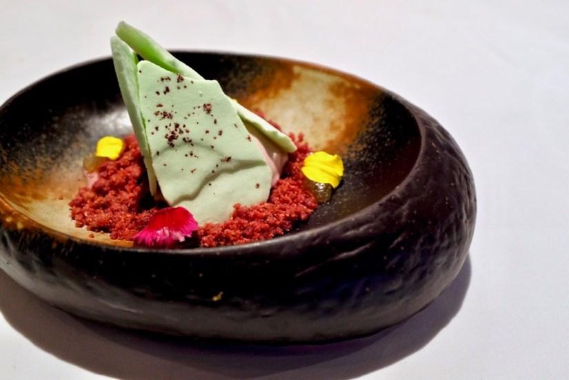 Arzak - Balearic Tonic with Hibiscus - beetroot crumble, hibiscus ice cream, melon juice, dried bergamot, sumac meringue