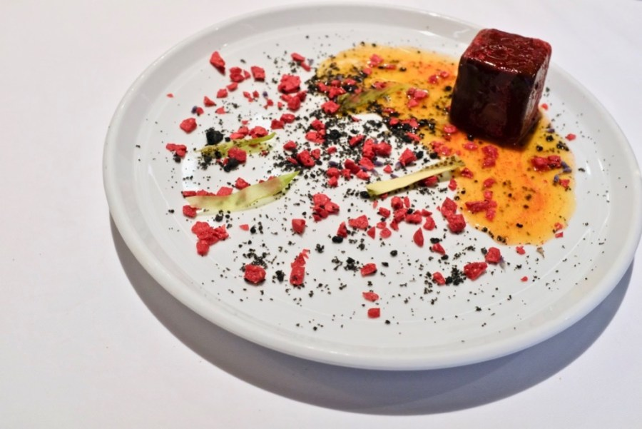 Arzak - Square Moon - lunar chocolate cube, fluid core of mint, neroli, kiwi, passionfruit drizzle, lavender, dehydrated raspberry