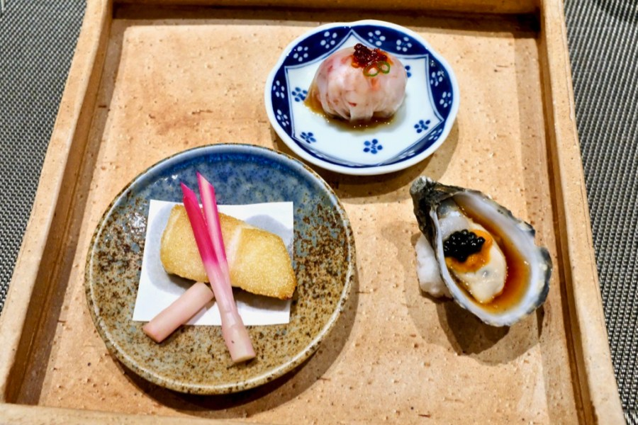 Kame Omakase - Lobster Ball, Kumamoto Oyster w/ Uni and Caviar, Sea Bass w/ Pickled Beet