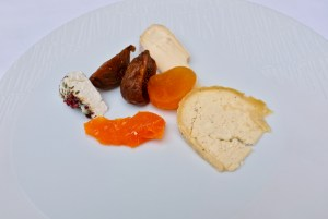 Epicure - Cheese course selections peppercorn goat, aged orange cheese, triple cream, garlic