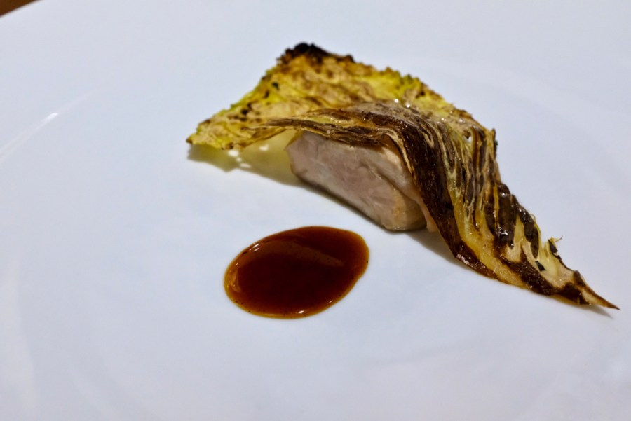 "Dialogue LA - ""Pheasant with flavors of a Michigan Autumn"", pheasant breast and leg, napa cabbage, apple, burnt corn husk jus"