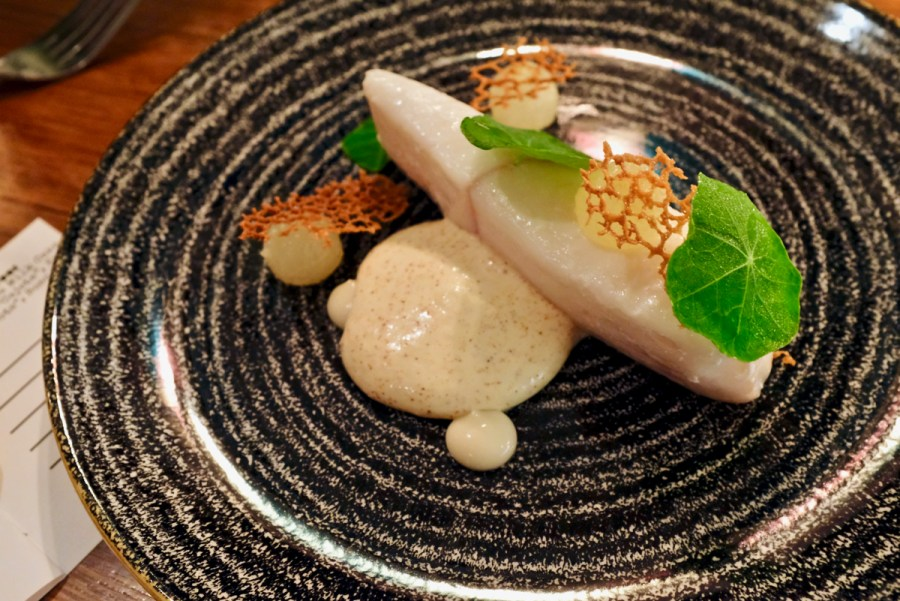 Anomaly - Line Caught Norwegian Halibut, Smoked Brown Butter Sabayon, Asian Pear, Lemon Verbena