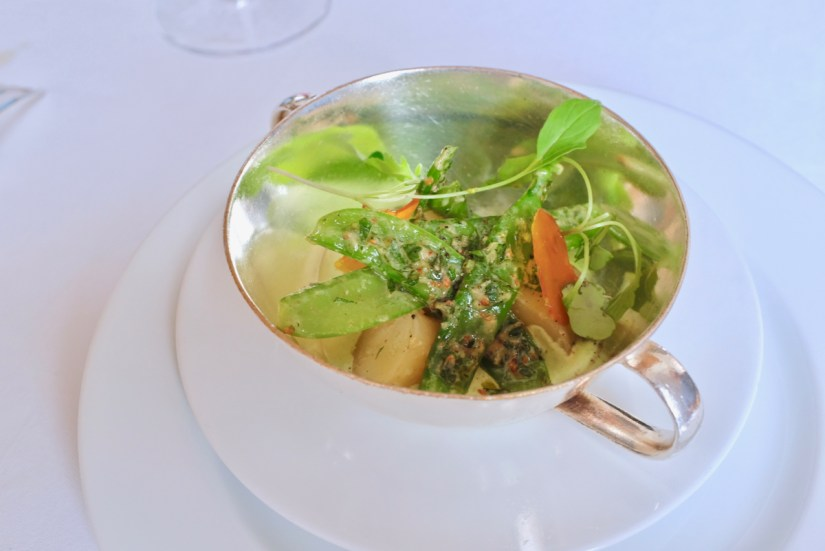 Arpege - Potato Salad, red mullet caviar flakes, sugar snap pea, garlic paste