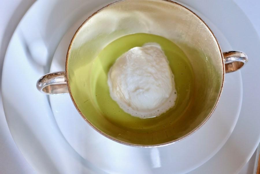 Arpege - Warm Snap Pea Soup, chilled garlic crème fraîche