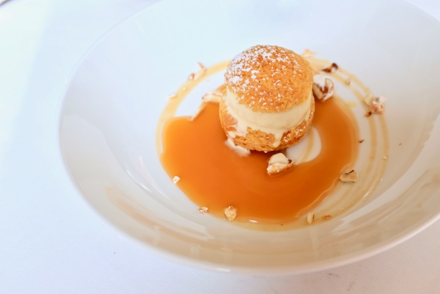 Arpege - Hay Ice Cream, choux pastry, honey, candied almond