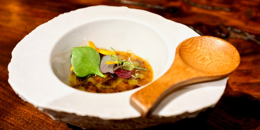 Atelier Crenn - Seeds & Grains - trout roe, fermented squash, truffle, toasted seeds, duck fat