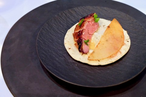 Californios - Pichón - squab, asain pear, salsa adobada, moyoga ginger, sourdough tortilla