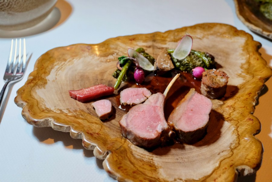 Quince SF - Don Watson's Spring Lamb, Rack, Center, Top Loin, Sausage, Bacon, Bagna Cauda, Garlic Scape, French Breakfast Radish, Lamb Jus