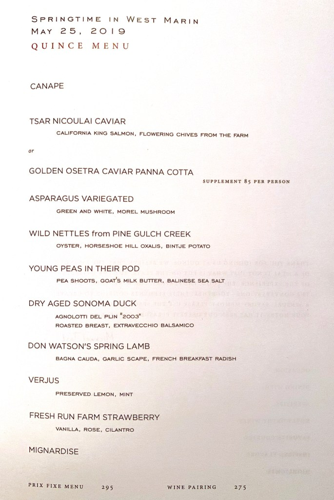 Quince SF - Dinner Menu May 2019