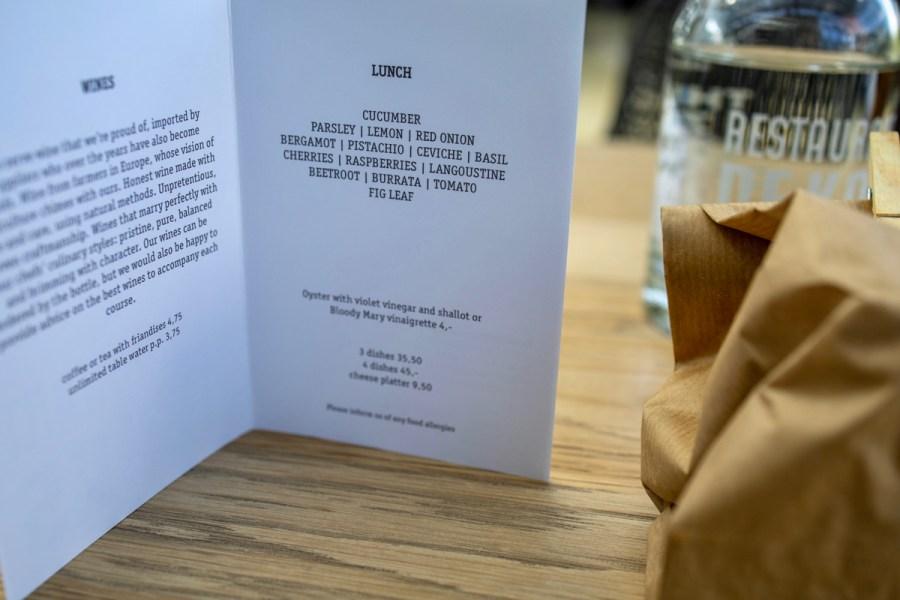 De Kas - Lunch Menu August 2019