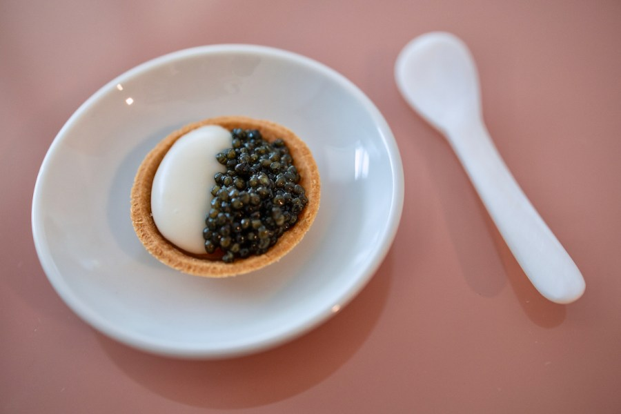 Atelier Crenn Takeout - Caviar Tart, Koji Rice Cream, California Caviar Co. White Sturgeon Caviar
