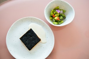 Atelier Crenn Takeout - Trout Mousse, smoked mussel cream. Spring vegetable salad, asparagus, peas, fava bean