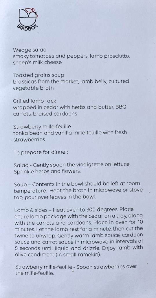 Birdsong Takeout Menu 5/17/20