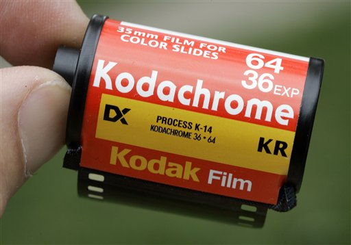 In this photo taken on Sept. 15, 2008, a roll of Kodachrome 64 is seen in Tonawanda, N.Y. Kodak announced Monday that it is retiring its most senior film because of declining customer demand in an increasingly digital age. (AP Photo/David Duprey)