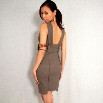 grey zipped back dress