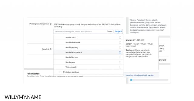 masih menyalahkan algoritma facebook ads - peminatan facebook ads berdasarkan jenis musik heavymetal copy