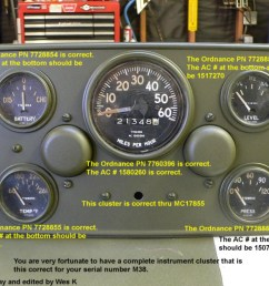 the straight 24v gauges came at sn mc17856 were used with this cluster having the cb and harness clip mounted to the panel thru mc65042  [ 1024 x 768 Pixel ]