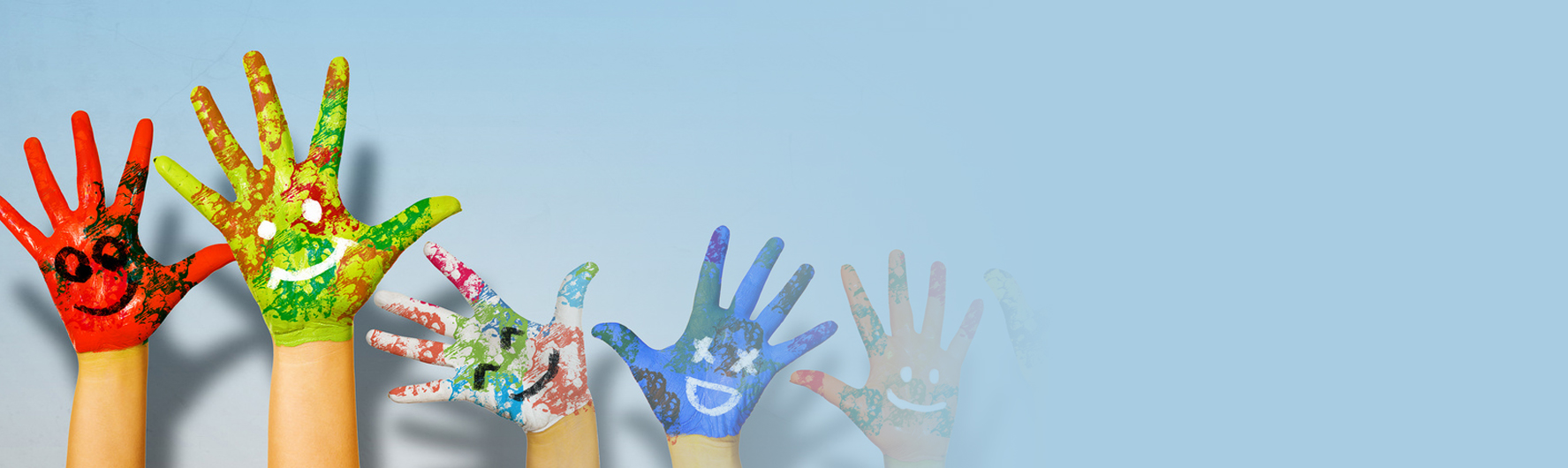 Children's hands painted