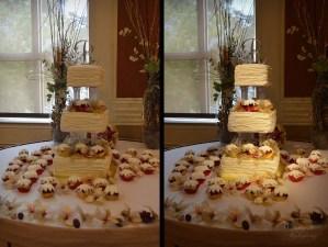 wedding cake pin spot lighting
