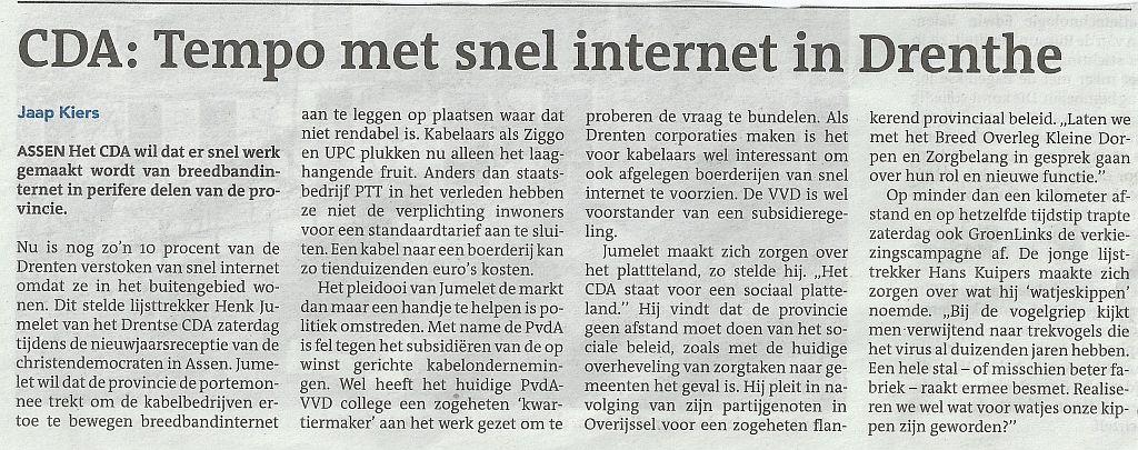 Tempo met snel internet in Drenthe
