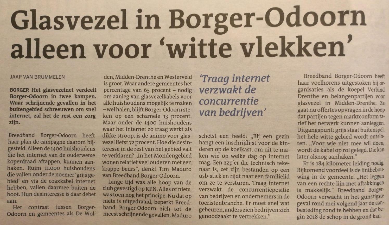 Schrijnende gevallen met internetverbinding in Borger-Odoorn