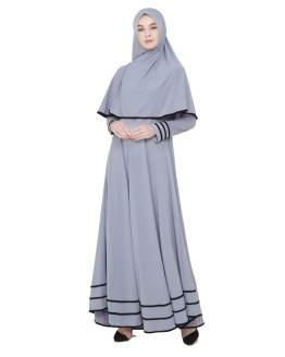Java Seven Gamis Wanita Muslimah Dan Kerudung Abu Jersey JNE 001