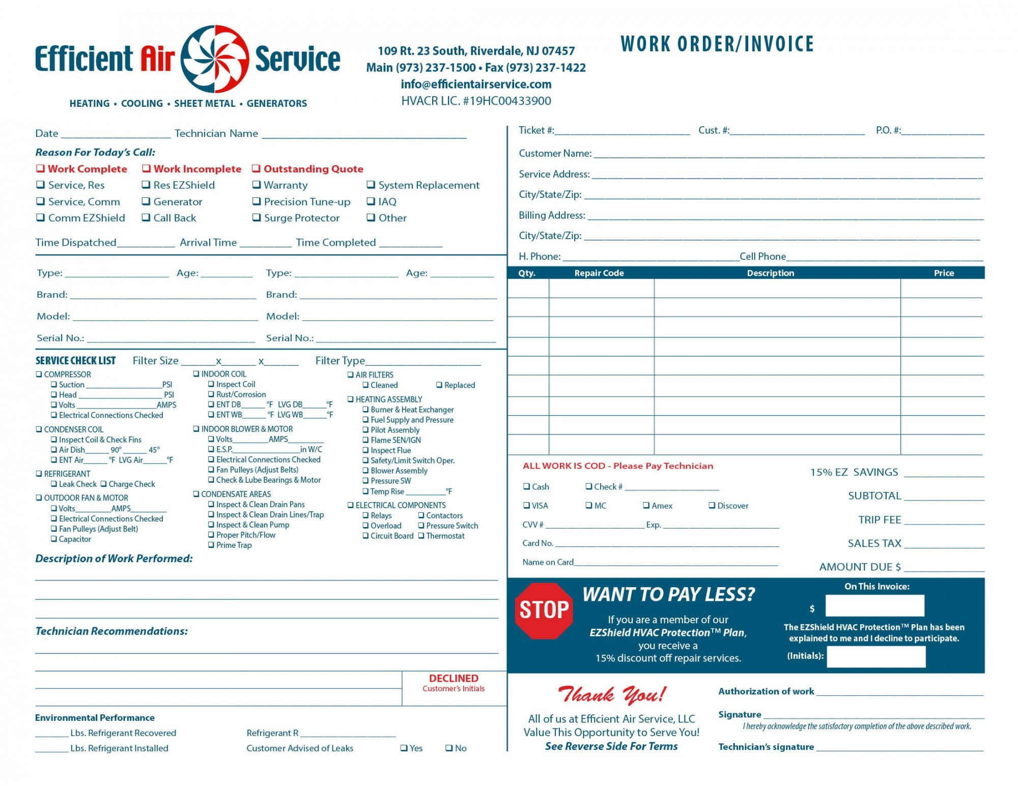 Heating Amp Air Invoice Form Samples