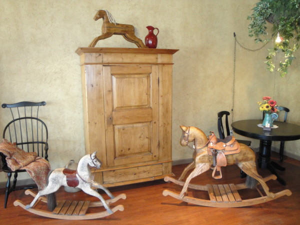 Antique Carved Painted Wooden Horse Velocipede Modern Home Decor