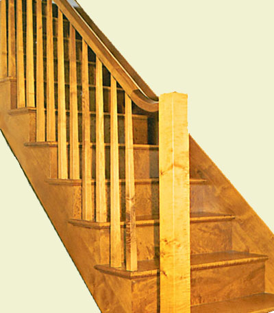 Custom stained blistered maple staircase and balustrade. Traditional ...