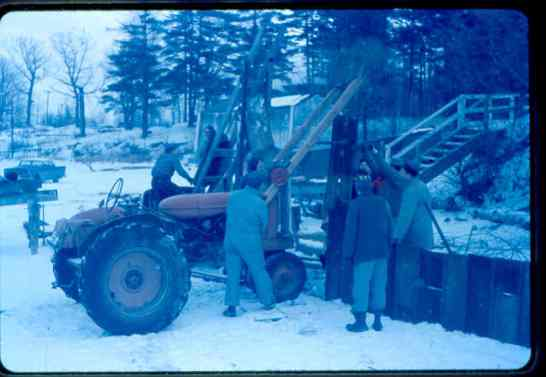 Bob Cuddeback and his pile driving tractor