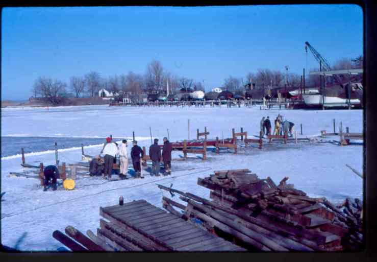 East end docks under construction with ice skating rinks