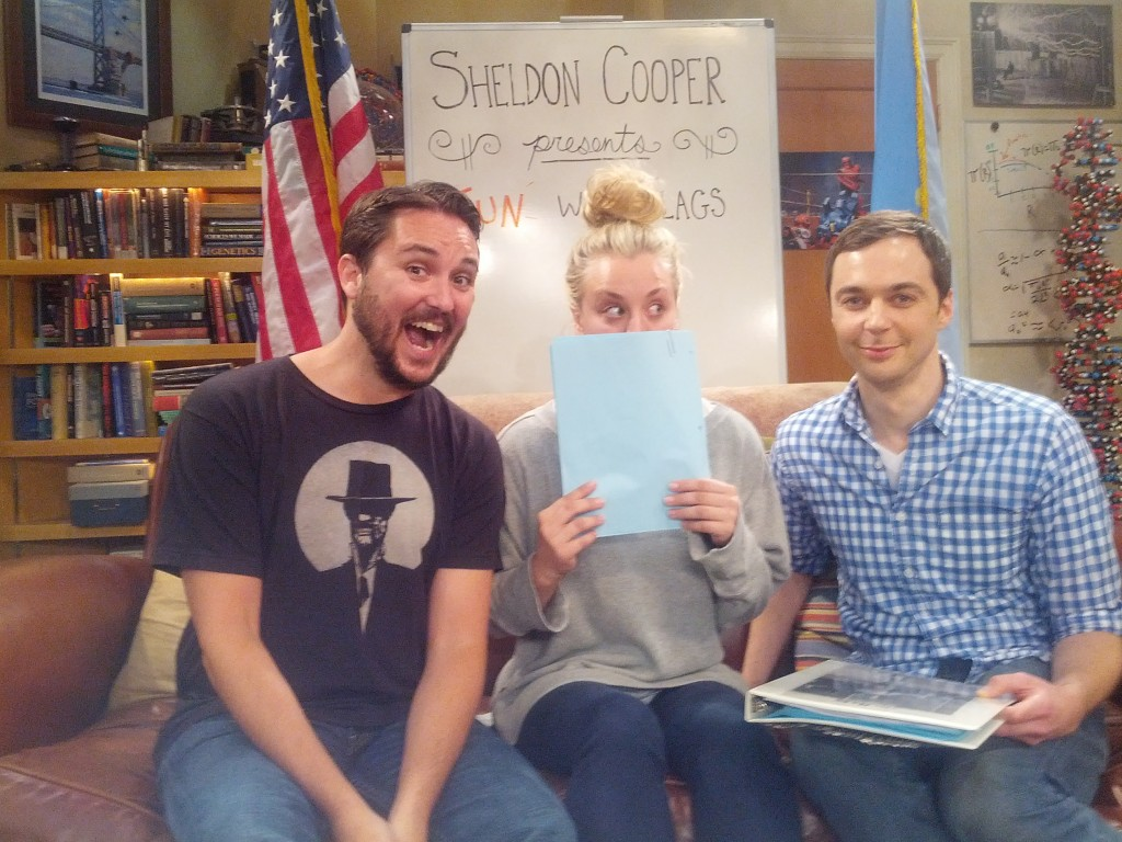 Wil Wheaton, Kaley Cuoco, and Jim Parsons on the set of Big Bang Theory