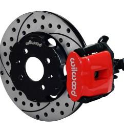 wilwood combination parking brake caliper rear brake kit red powder coat caliper srp drilled [ 1000 x 883 Pixel ]