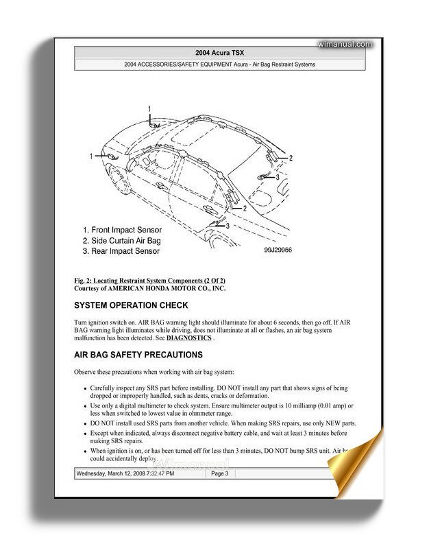 Acura Tsx 2003 2008 Air Bag Restraint System Service