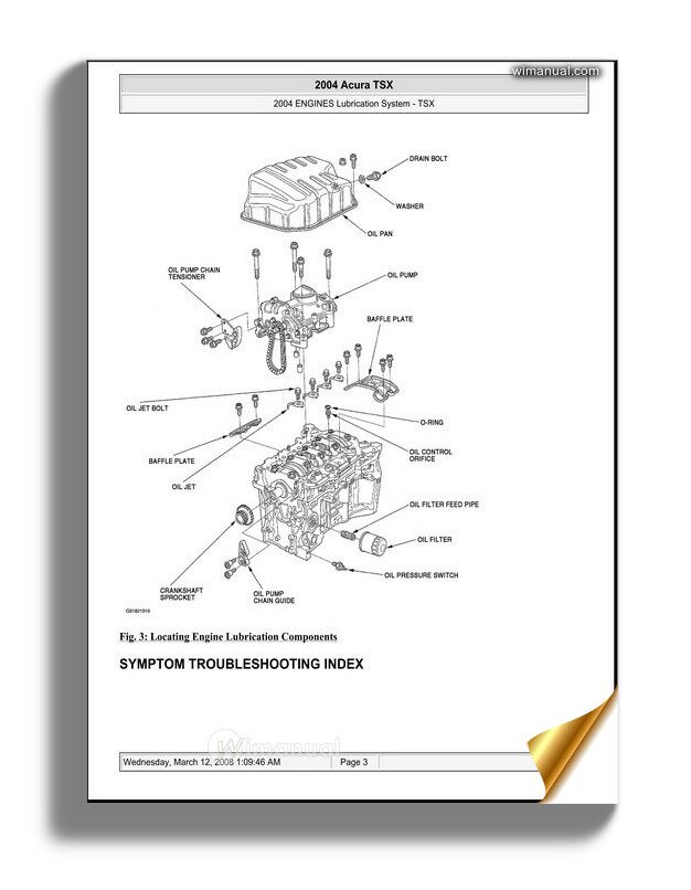 Acura Tsx 2003 2008 Engine Lubrication