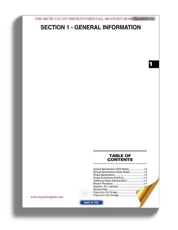 Arctic Cat 2008 Dvx Utility 250 Service Manual