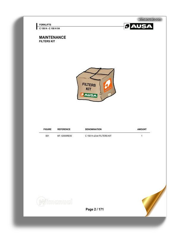 Ausa C 150h X4 Parts Manual