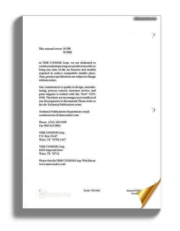 Condor Scissors Lift T80 T86j 92387 Parts Book