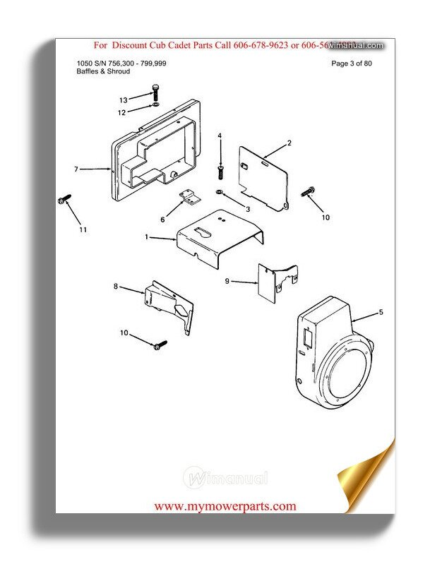 Cub Cadet Parts Manual For Model 1050 Sn 756300 799999