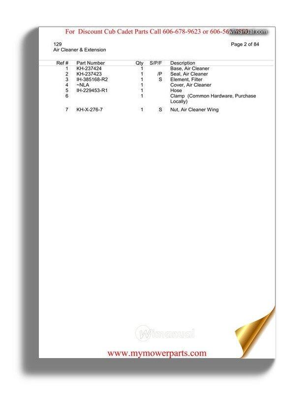 Cub Cadet Parts Manual For Model 129