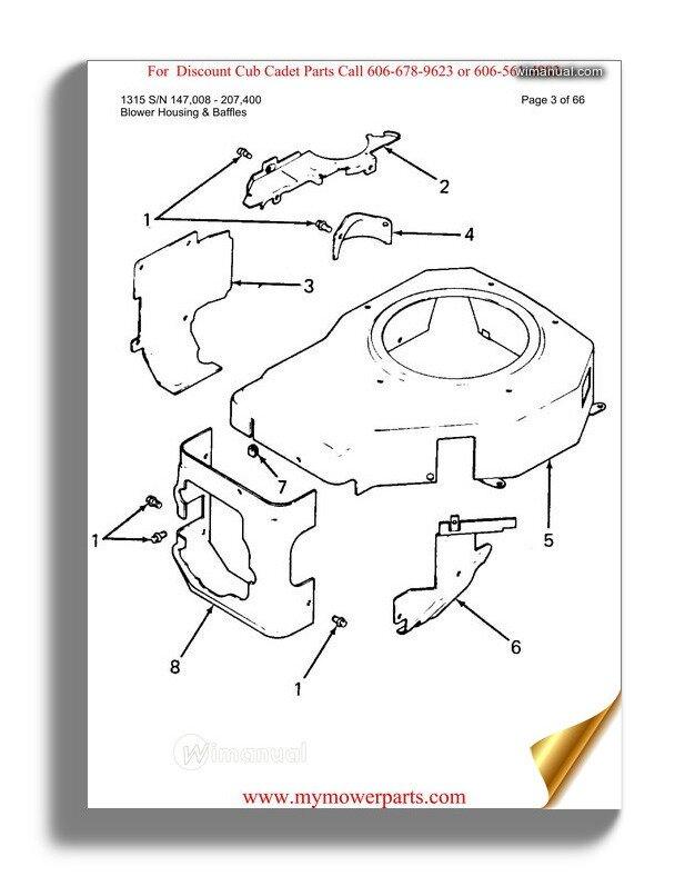 Cub Cadet Parts Manual For Model 1315 Sn 147008 207400