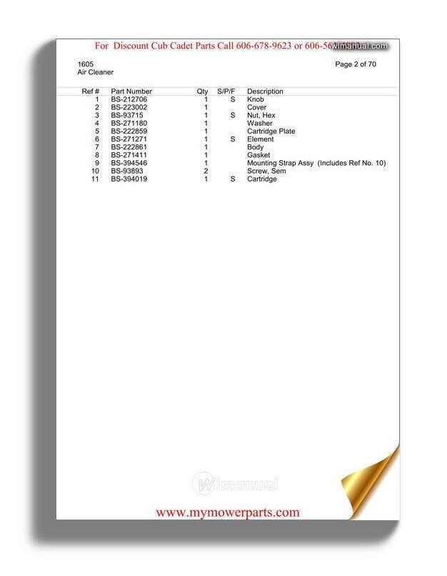 Cub Cadet Parts Manual For Model 1605