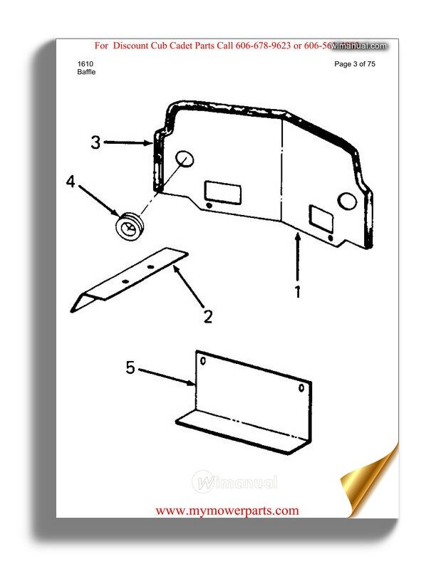 Cub Cadet Parts Manual For Model 1610