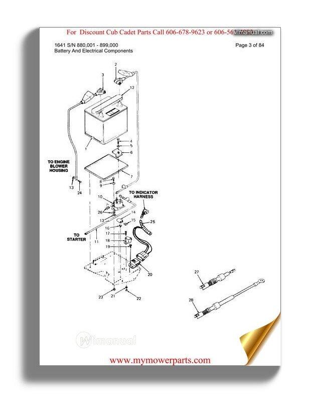 Cub Cadet Parts Manual For Model 1641 Sn 880001 899000