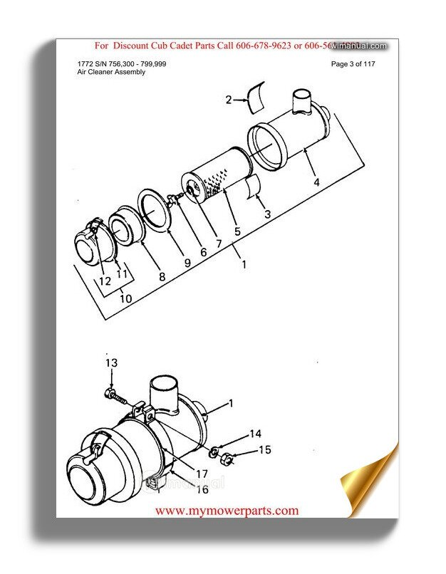 Cub Cadet Parts Manual For Model 1772 Sn 756300 799999