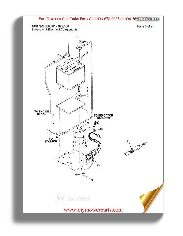 Cub Cadet Parts Manual For Model 1864 Sn 880001 899000