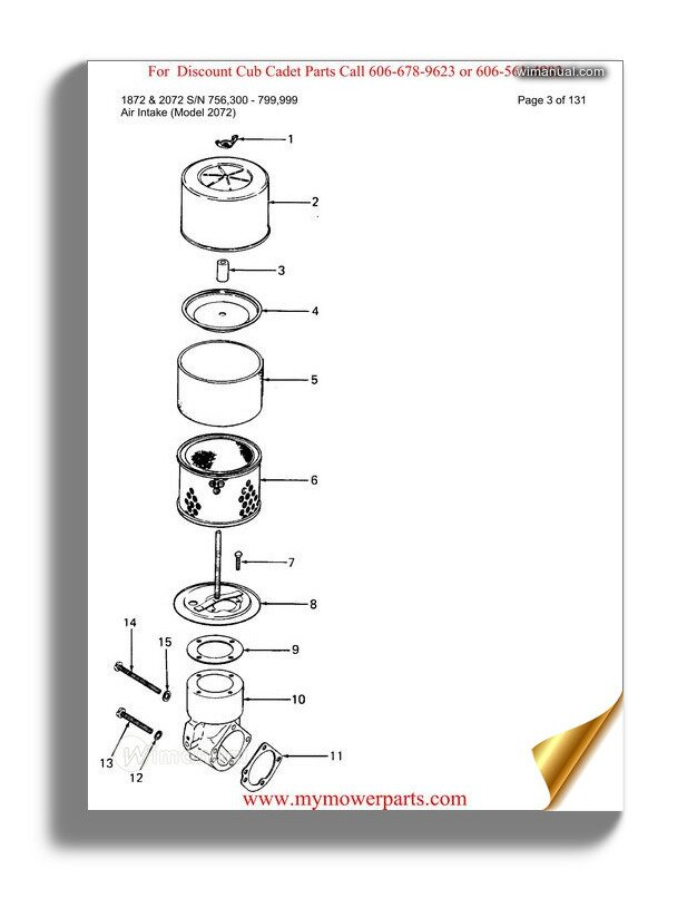 Cub Cadet Parts Manual For Model 1872 And 2072 Sn 756300
