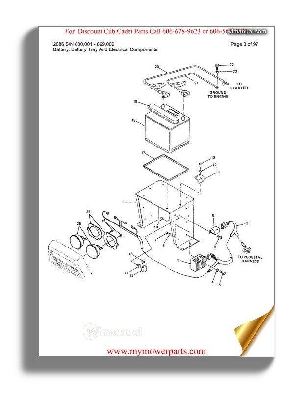 Cub Cadet Parts Manual For Model 2086 Sn 880001 899000
