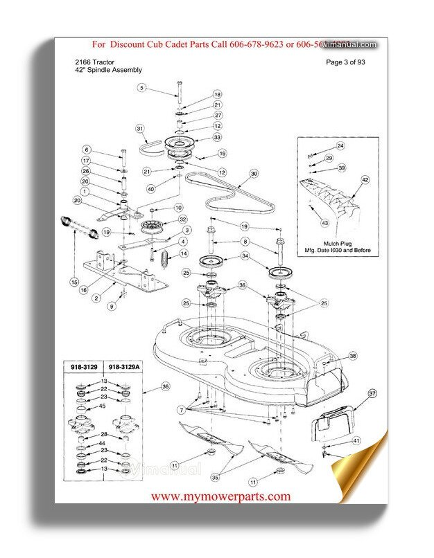 Cub Cadet Parts Manual For Model 2166 Tractor