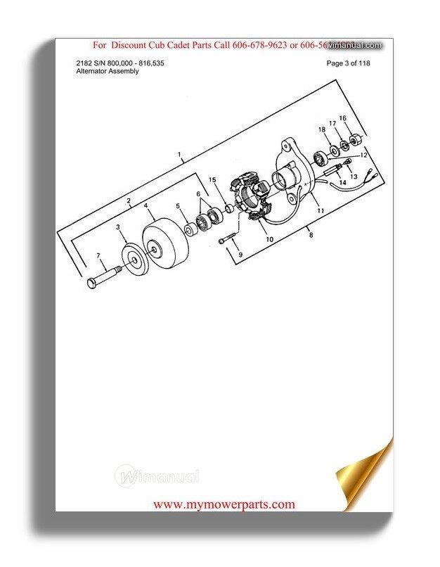 Cub Cadet Parts Manual For Model 2182 Sn 800000 816535